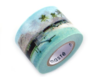 MASTE tropical island getaway masking tape - palm trees, island hut, blue ocean, seagulls - japanese washi tape