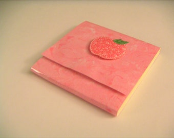Pink Speckled Sticky Notes Pad with Pink Calico Apple