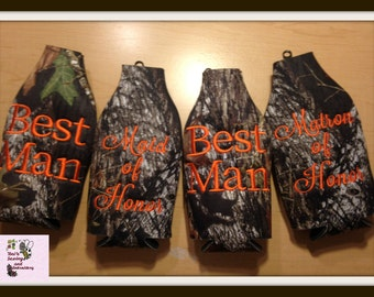 Break up Mossy Oak Camo ZIPPER BOTTLE  Insulator/Cooler Cozie