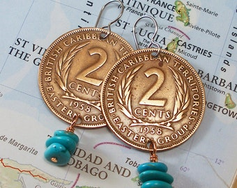 British Caribbean Territories, Vintage Coin Earrings --- Turquoise Waters --- Tropical Island - Beach Vacation - World Travel - 1958- OOAK