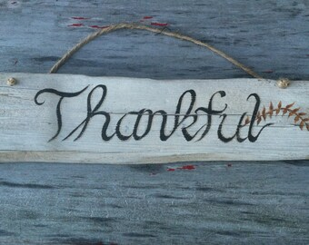 Hand Painted Rustic Maine Driftwood Thankful Wall Sign,  Easter Spring Decoration Home Outdoor Decor, Home And Living