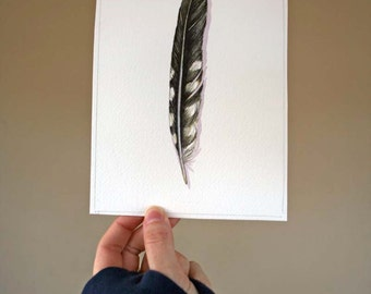 Woodpecker Feather Painting- Original Watercolor Feather