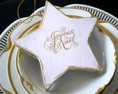 RESERVED For Debbie Joyeux Noel Christmas Ornament Star Ornament  French Gift Tag French Party Favor Holiday Gift Exchange Under Ten Gift
