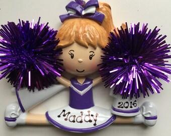 Personalized Purple Cheerleader Christmas Ornament- Free Personalization