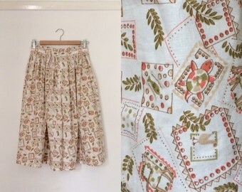 Handmade fifties-style full cotton skirt with vintage novelty-print fabric / printed full 50s cotton skirt - small