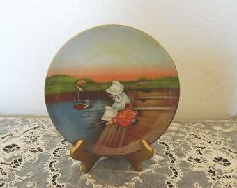"Royal Bayreuth Sunbonnet Babies Days of the Week Plate Collection - Sunday ""Fishing"" - 1974"