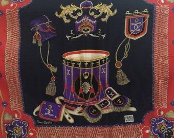Regal Red and Purple Vintage PIERRE CARDIN Silk Scarf