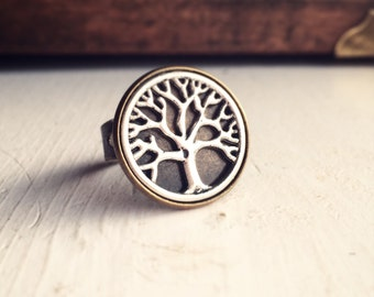 Tree Ring Adjustable Two Tone Tree of Life Ring / Antique Brass Bronze Silver / Circle Hippie Boho Bohrmian Wanderer Gift Wanderlust