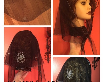 Five church prayer beautiful lace veils  mantilla shawl -  blue white black rhinestones glitter