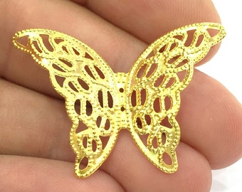 2 Gold Charms Gold Plated Brass Butterfly Charms (40x28mm)  G4501