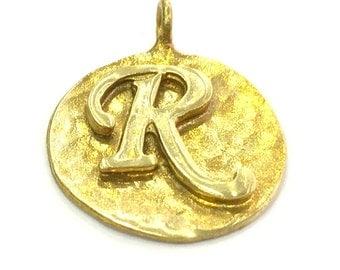 Raw Brass R Charm 20mm G4889