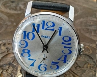25 OFF SALE Wrist watch mens watch Pobeda grey watch men watch, men's mechanical watch,