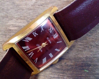 25 OFF SALE Vintage Russian mechanical watch Slava from Soviet Union period, gold covered ladies wristwatch