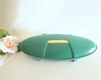 Vintage Singer Button Holer Mint Green Atomic Case Sewing Machine Attachment