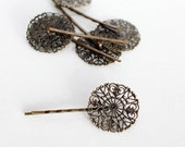 Antique Bronze Round Filigree Bobby Pin Blanks, Round Shaped (10 pces)