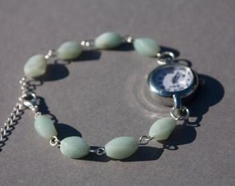 Amazonite bracelet watch, aqua blue women's watch bracelet made in the UK