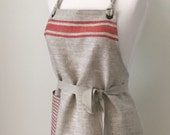 Full Apron Woman Lithuanian Linen Apron  Red Stripes Short Gift Cook