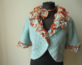 RESERVED - Blue Shrug Cardigan, Shabby Chic Sweater, Anthropologie Style Tops, Upcycled Clothing, Tattered Blue Cardigan, Bolero Sweater