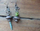 Asymmetrical Mismatched Charm Earrings with Green Skull and Turquoise Spike, Upcycled Metal Earrings, Tribal Rustic Jewelry, Boho Gypsy Chic