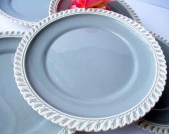 Vintage Harker Ware Chesterton Gray Blue Salad Plates Set of Five