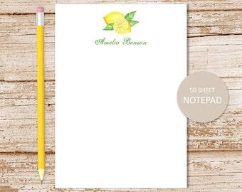 personalized note pad . watercolor lemons . personalized notepad . personalized stationery . fruit stationary