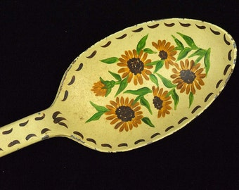 Vintage Primitive Long Metal Large Hand Painted Sunflowers Upcycled Spoon Cottage Shabby Chic Decor  ATCTTEAM TNTEAM