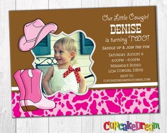 Cowgirl Birthday Invitation, Western Party