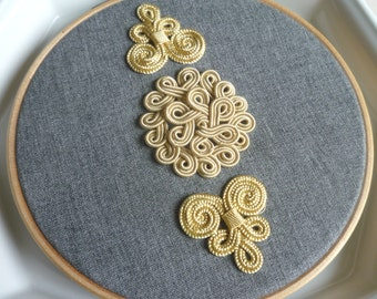 Moroccan embroidered hoop art, Moroccan decor, handmade embellishments,  golden and gray, textile art