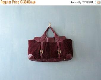 40% OFF SALE // Vintage 1970s bag. Burgundy Italian leather handbag. 70s oversized bag