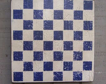 "Primitive Rustic Checkerboard - Handmade/Hand Painted - Dark Royal Blue/White - 11.25"" - Several Colors Available"