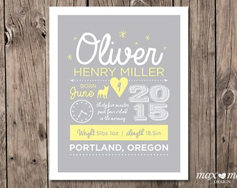 Birth Announcement Poster, Made to order, Custom, Baby Boy - 8x10in