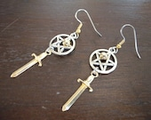 SALE - Mixed Metal Pentacle and Athame Earrings