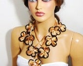 Hand Crochet Brown And Beige Scarf, Necklace, Lariat, Neck Accessories, Fall Fashion, Winter Fashion, Holiday Accessories,