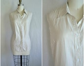 1950s pinup pinstripe button up tank / sleepless collar top in cream yellow and brown / xxl