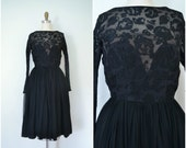 1950s gala ready silk floral sheer dress // party dress full skirt lace flowers // xs