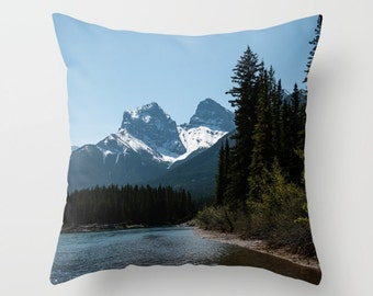 Scenic Pillow Cover, Mountain Lodge Sofa Decor, Blue Throw Cushion Case, Canadian Rocky Mountains Snow Capped Peaks, Three Sisters Mountain