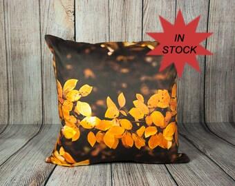 Autumn Pillow Cover, Bronze Leaves Cushion Case, Fall Interior Decoration, Topaz Man Cave Accent, Cottage Sofa Decor, Cabin Chair Ornament