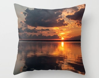 Picture Pillow Cover, Sunset Throw Cushion Cover for Sofa, Bedroom Accent, Handmade in Canada, Orange Office Lounge Decor, Birthday Gift