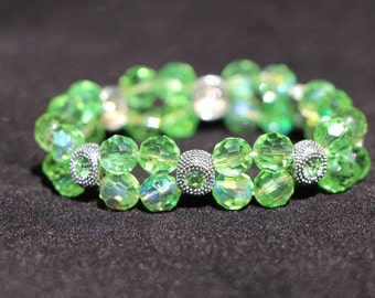 Lime Green and Silver Accent Beaded Bracelets Elastic Stacking Bracelet