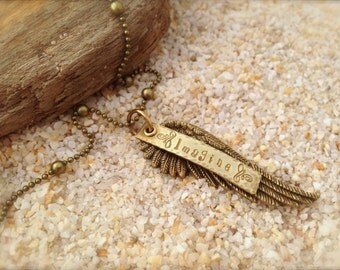 Wing Feather Imagine Angel Necklace