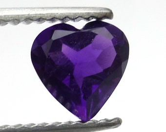 Amethyst Heart 7mm Natural Deep Purple Loose Gem Stone Faceted Handmade AAA Quality February Birthstone Perfect for a Ring
