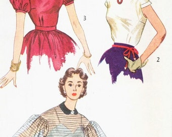 Vintage 1950's Misses Dressy Blouse Pattern, Puff Sleeves, Simplicity 3714