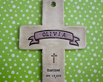 Baptismal cross for girl or boy personalized, Baptism gift, Baptism cross, Personalized Baptism gift, Custom Dedicated cross, Godchild
