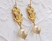 Vintage Upcycle Assemblage Gold Rose Pearl Earrings