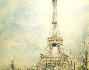 Aceo Art Trading Card Miniature Picture Eiffel Tower France Paris Europe Watercolor