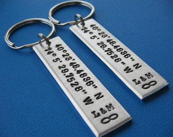 Coordinates Keychains, Set of 2, Custom Coordinates, Custom Couples Set, GPS Latitude Longitude, Keychains, Boyfriend Gift, Girlfriend Gift