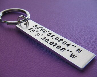 Coordinate Keychain - Gift for Boyfriend - Gift for Girlfriend - Couple Keychain - Custom Coordinate - Latitude Longitude