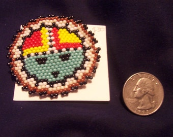 Native American Hopi Kachina Tawa Jewelry Seed Bead Pin