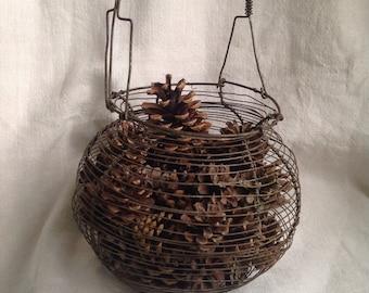 Vintage egg basket, French antiques home decor, Rustic farmhouse kitchen, Christmas Decor