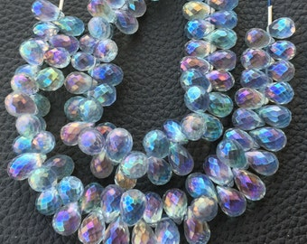 WOW,Brand New, Mystic Rainbow Purple-Blue Shaded Quartz Faceted Drops Shape Briolettes,1/2 Strand,9-10mm Size